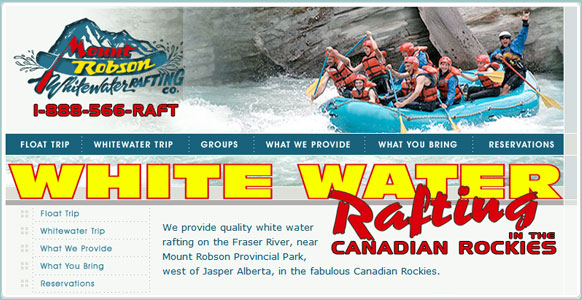 Whitewater Rafting Jasper Website Design